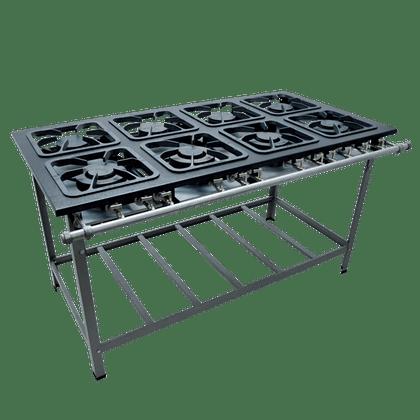 Fogao Industrial 8 Bocas M-16 M/m S2000 30X30 Perfil 6,5 Cm Com Porta Panela - Metalmaq