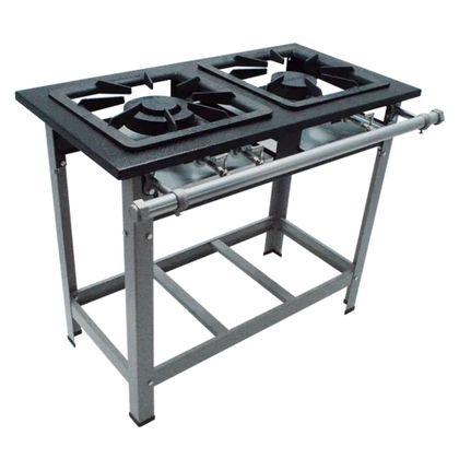 Fogao Industrial 2 Bocas M-6 Q/d Super Luxo 40X40 Perfil 6,5 Gás Natural - Metalmaq