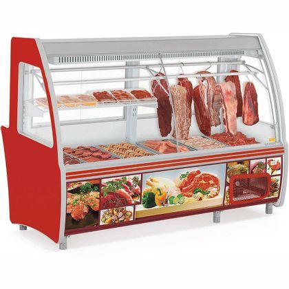 Balcao Refrigerado Acougue Gcpc-210d Vermelho Tendal Duplo Com Deposito 220V - Gelopar