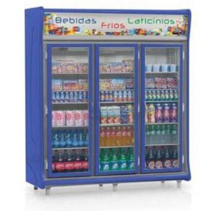 Balcao Refrigerado Gevp-3p Azul Expositor Vertical 3 Portas 1,83Mt 127V - Gelopar