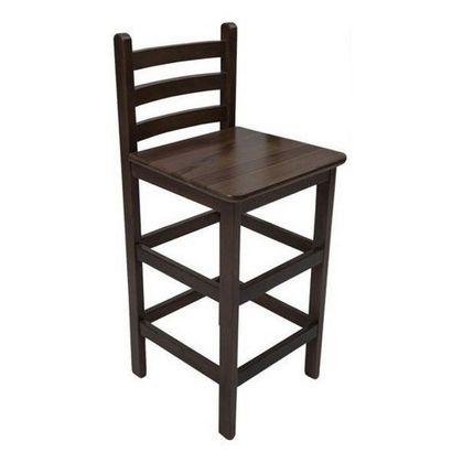 Banqueta Alta De Madeira Com Acabamento Imbuia E Com Encosto - Só Mesas Só Cadeiras