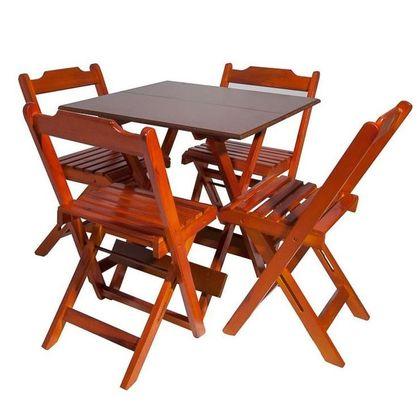 Conjunto Mesa Com 4 Cadeiras Madeira Dobravel Retro Encosto Reto Mel - So Mesas So Cadeiras