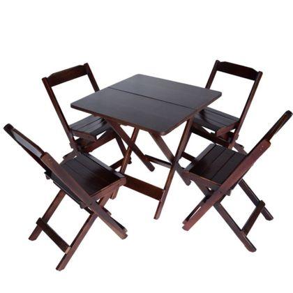 Conjunto Mesa Com 4 Cadeiras Madeira Retro Encosto Reto Imbuia - So Mesas So Cadeiras
