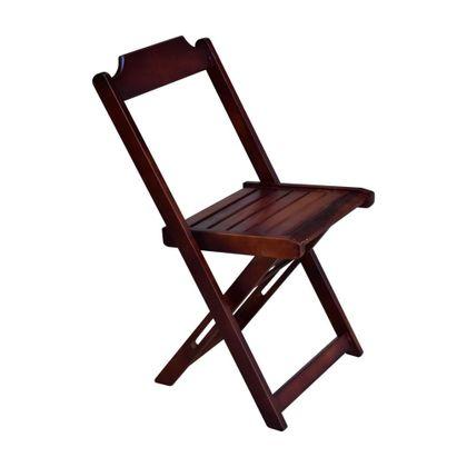 Cadeira Dobrável Retro Madeira Imbuia Encosto Reto - So Mesas So Cadeiras