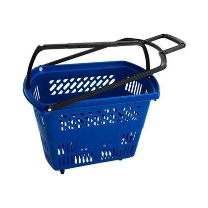 Cesta De Supermercado C/ Rodinhas Plastica Lf0205 Azul - Navona