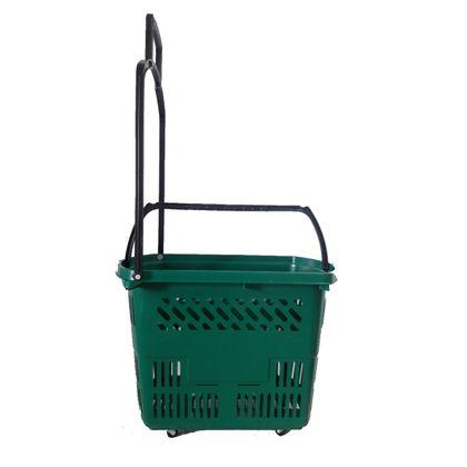 Cesta De Supermercado C/ Rodinhas Plastica Lf0205 Verde - Navona