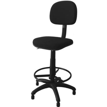 Cadeira Caixa Alta Giratoria Com Lâmina Tecido Preto - Lorenzzo